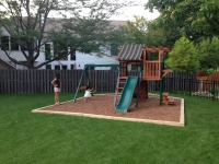 landscape timber wall installation