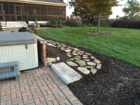 flagstone walkway, stone steps